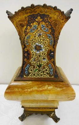 French Enamelled Vase with Agate Base