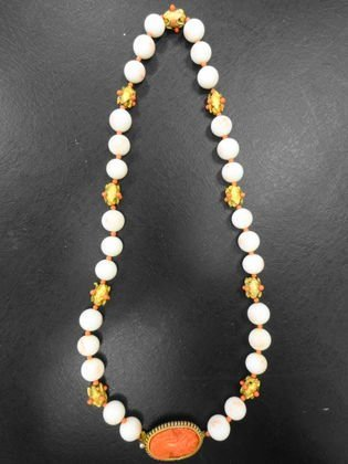 Hattie Carnegie Costume Necklace with Coral Cameo