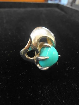 Modern Sterling Silver & Turquoise Ring
