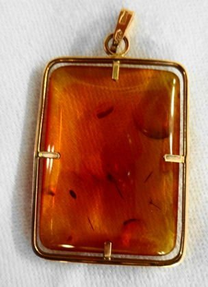 Russian Amber Square Pendant, 18k Gold, Signed