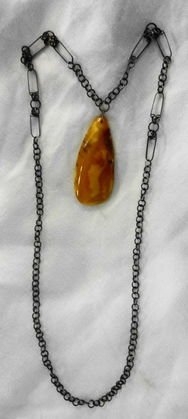 Russian Amber Pendant with Original Chain