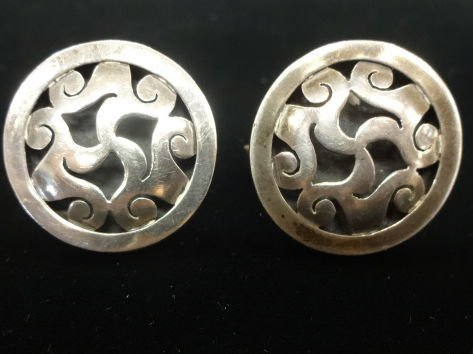 Mexican Silver Cufflinks, Marked 925, Signed