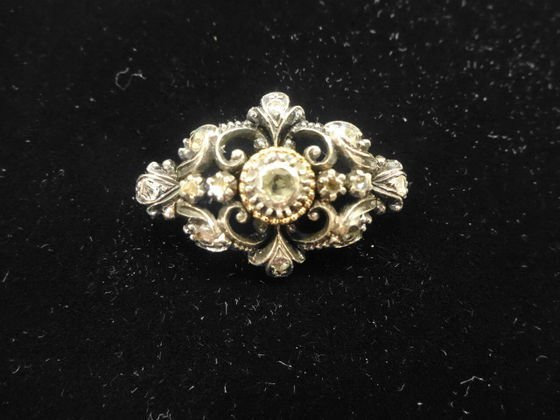 Estate Diamond, 18k Gold & Silver Pin, Edwardian Era