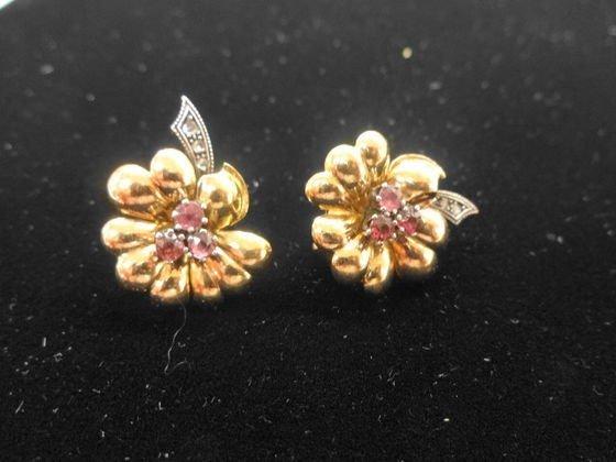 Estate 18k Gold, Amethyst & Diamond Earrings