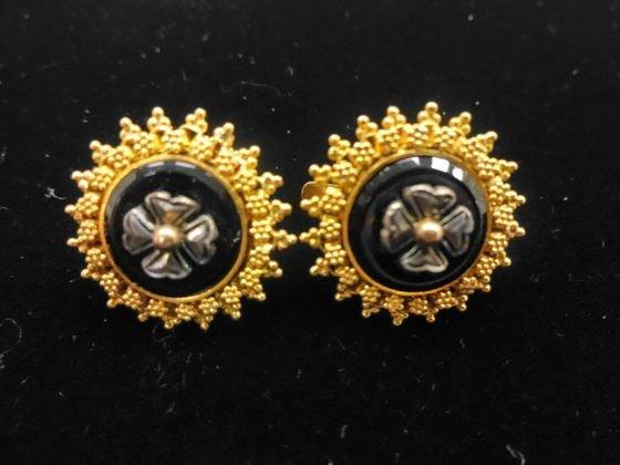 Estate 18k Gold, Silver & Onyx Pierced Earrings