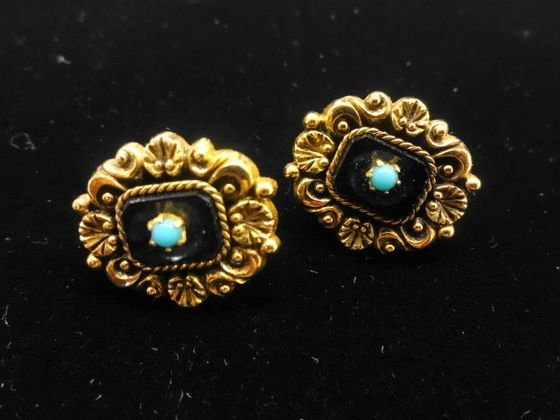 Portugese Gold, Onyx & Turquoise Pierced Earrings