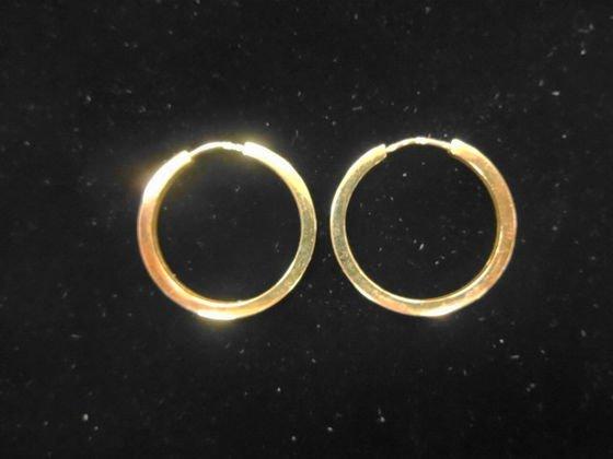 "Portugese Gold (19.2k) Estate 1"" Hoop Earrings"