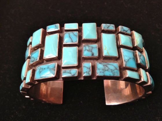 American Indian Sterling Turquoise Cuff Bracelet