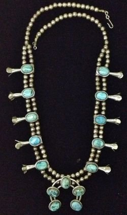 American Indian Silver Squash Blossom Necklace