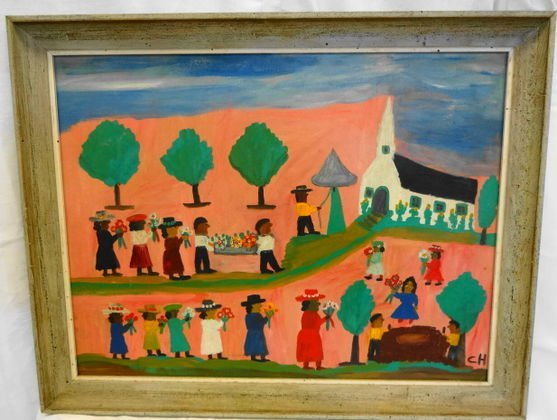 """Clementine Hunter """"Cane River Funeral"""" Painting"""