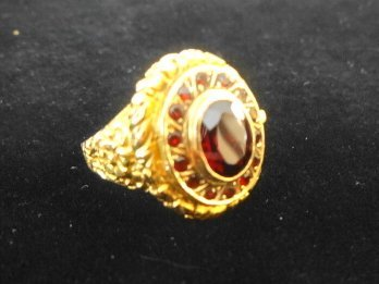 Portugese Gold (19.2k) Poison Ring with Red Stones