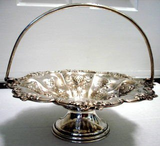 Sterling Silver English Cake Basket, 1902
