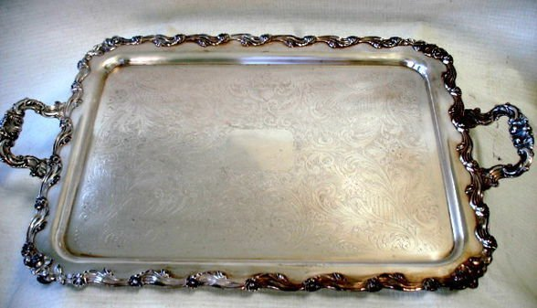 Victorian Silverplate Footed Serving Tray
