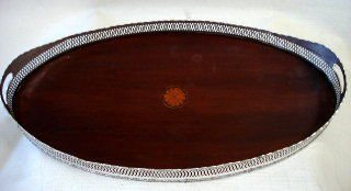 English Silverplate & Inlaid Wood Serving Tray