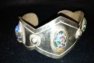 Taxco Mexican Silver Bracelet with Stones