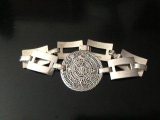Taxco Silver Bracelet with Mayan Calendar Center