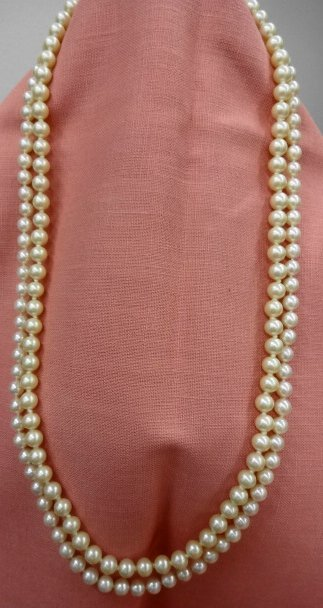 2 Pearl Necklaces with 14k Gold Clasps