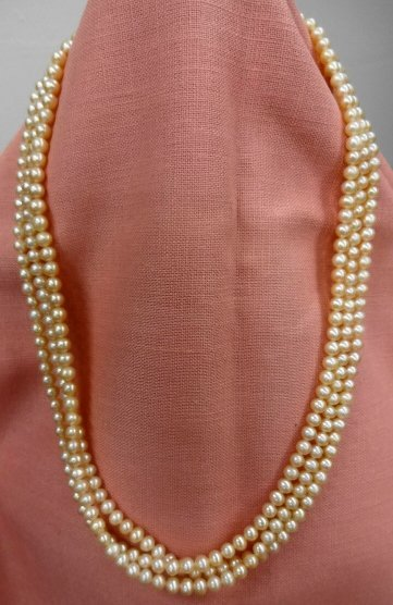 Pink Pearl Triple Strand Necklace, 14k Gold Clasp