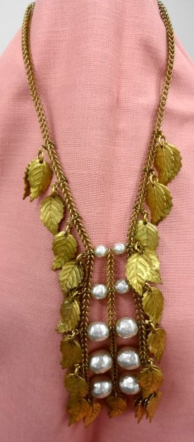 Miriam Haskell Faux Baroque Pearl & Leaf Necklace