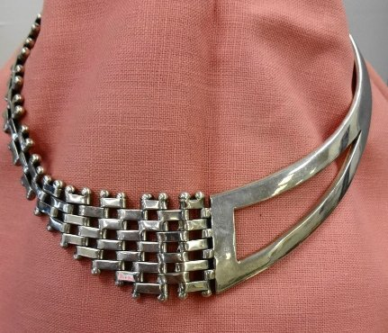 Modernist Sterling Necklace, Mexico, 925