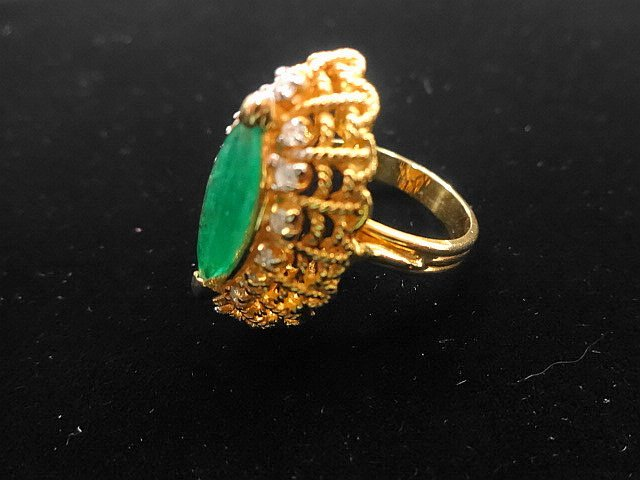 14k Gold, Diamond & Emerald Cocktail Ring