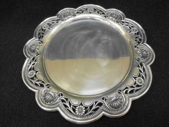 Portugese Silver Footed Tray, Hallmarked.