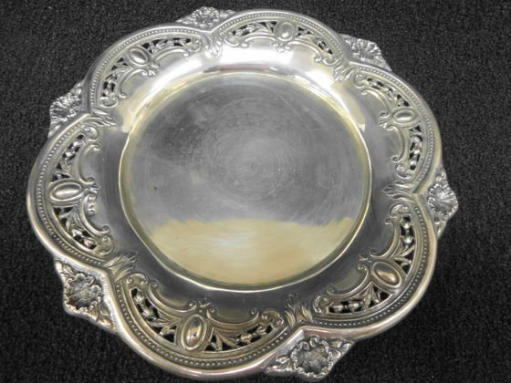 """Portugese Silver Footed Tray, Hallmarked. 9 1/4"""" (D)"""
