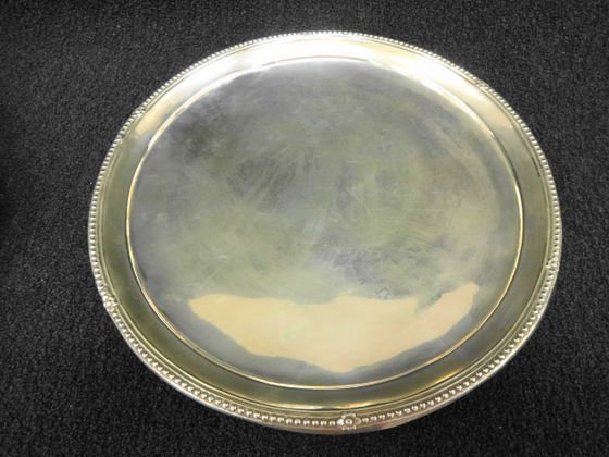 Silver Round Footed Tray, Marked 910