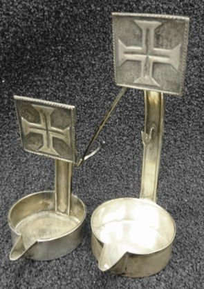 Antique Silver Betty Lamp with Crosses, Hallmarked
