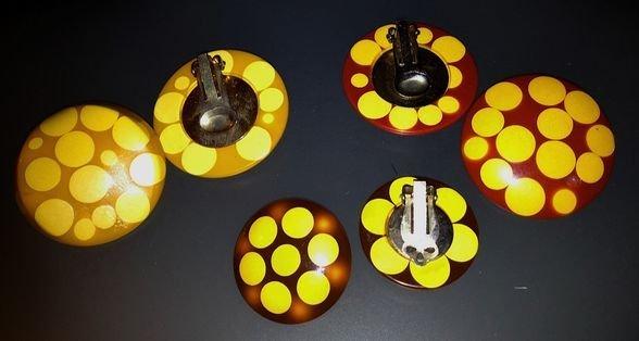 """Belle Kogan Bakelite """"Polka Dot""""Earrings 3pr c1930"""