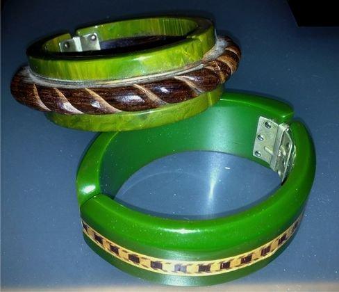 (2) Bakelite & Wood Laminate Bracelets, c.1935