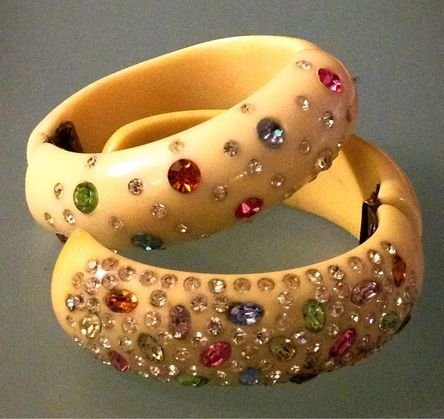 (2) 1940 Plastic & Rhinestone Hinged Bracelets