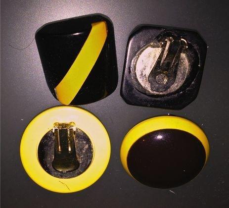(2 pr) Bakelite Geometric Earrings, c.1930