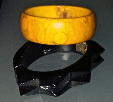 (2) Bakelite Bracelets,  1-Dot & 1- Carved, c.1935