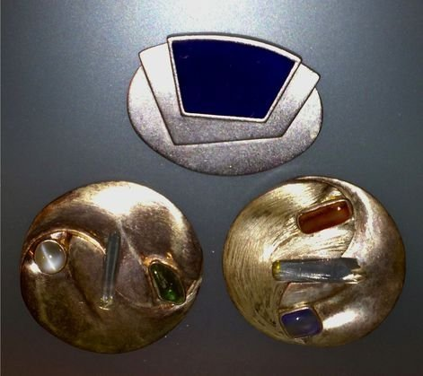 (2) Sterling Modern Brooches, and Monet Brooch