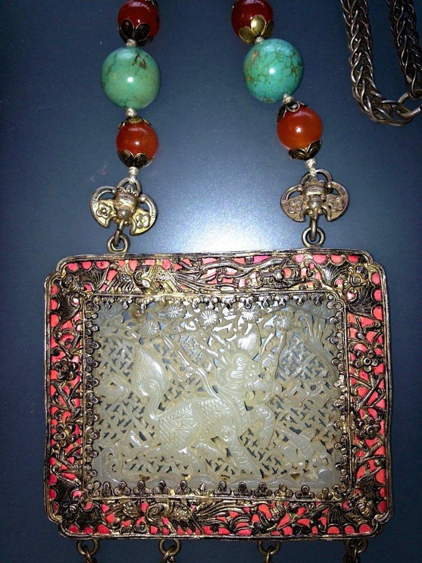 Chinese White Jade Turquoise & Carnelian Necklace