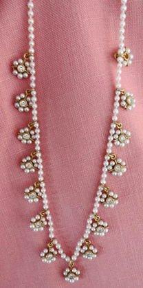 "22 k Gold, Diamond & Pearl Necklace, 16"""