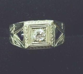 Art Deco 18k White Gold, Diamond & Sapphire Ring