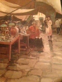 """Lazzaro Pasini, """"Antique Market"""", Oil Painting"""