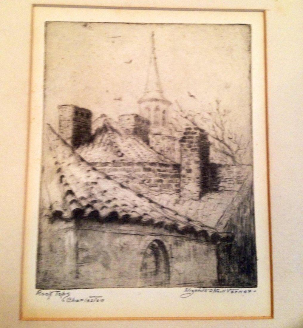 """Elizabeth O'neill Verner Etching , """"Roof Tops"""", Signed"""