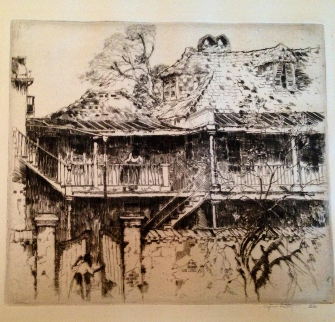 """Alfred Herbert Hutty, """"In Old Charleston"""", Signed"""