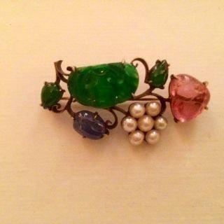 Antique Chinese Brooch, 14k, Jade, Pearl, Amethyst