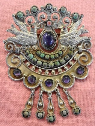 Antique Sterling Mexican Brooch, Signed & Numbered