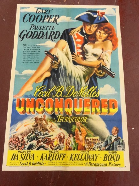"""Original Movie Poster, """"Unconquered"""" 1947, Cooper."""