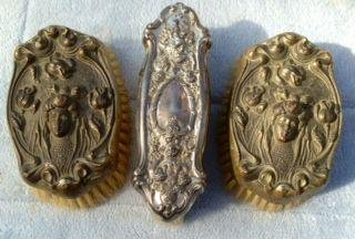 Victorian Figural Silver Mounted Hair Brushes