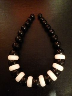 Italian Ivory and Jet Choker Necklace