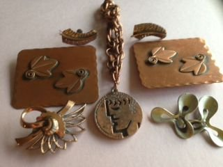 Francisco Rebajes Copper Jewelry Signed (5) Pieces