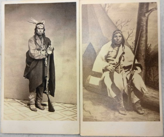 American Indian CDVs (2) Sioux Hunter & Brave