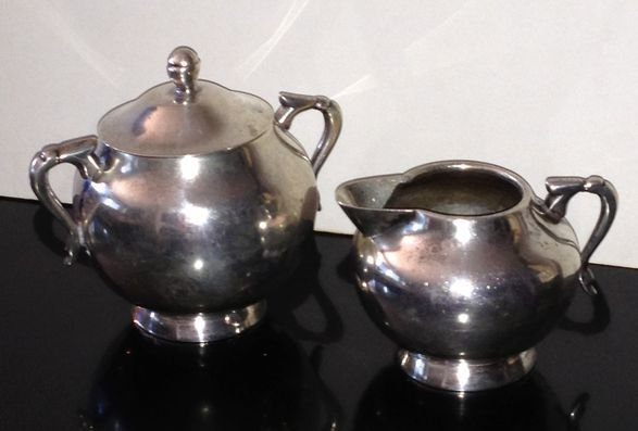 Mexican Sterling Silver Creamer and Sugar, C.1930s