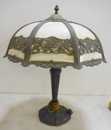 Antique Bent Panel Slag Glass Lamp, Marked EL 129